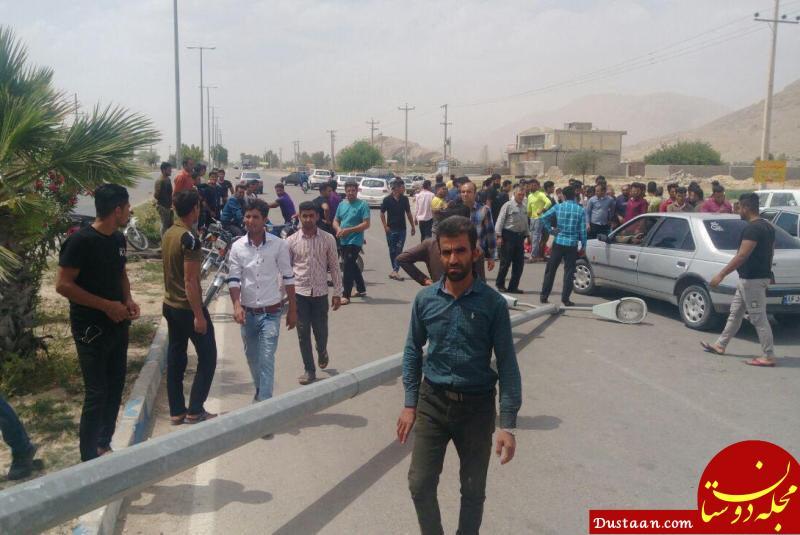 www.dustaan.com سقوط مرگبار تیر چراغ برق در داراب فارس +عکس