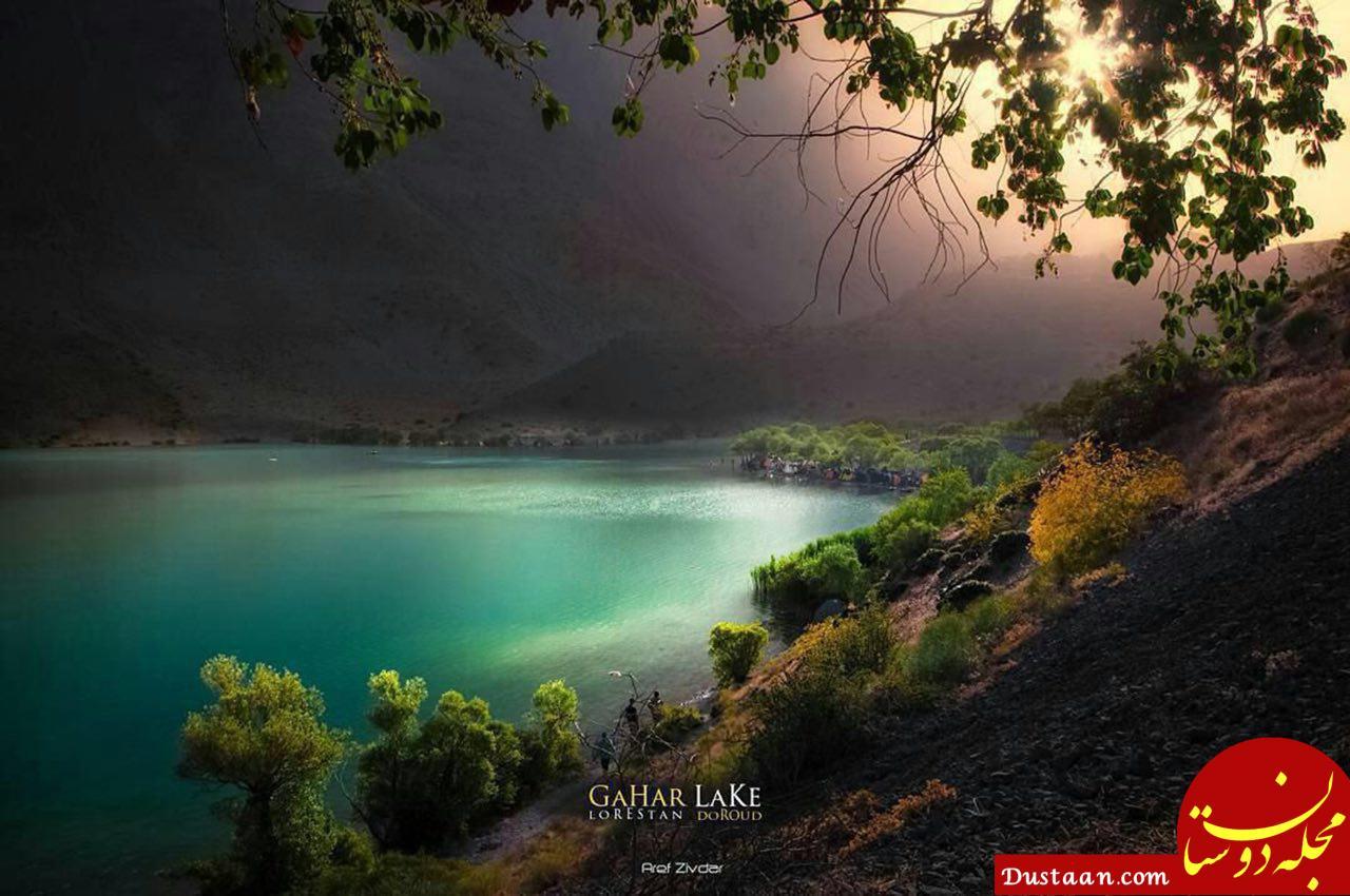 www.dustaan.com تصویری رویایی از دریاچه گَهَر در شهرستان دورود