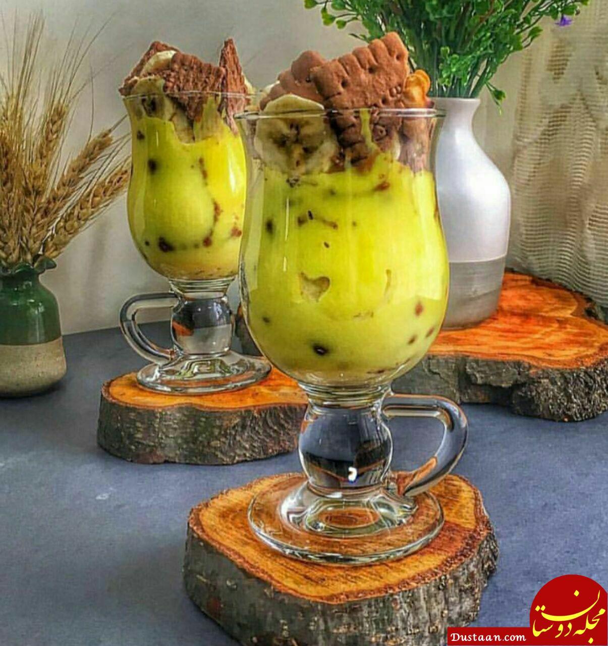 www.dustaan.com طرز تهیه دسر موز و بیسکوییت به سبکی خوشمزه و متفاوت