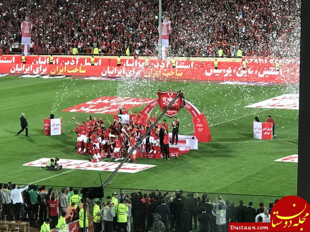 www.dustaan.com لحظه بالا بردن جام قهرمانی سرخپوشان توسط هانی نوروزی +فیلم