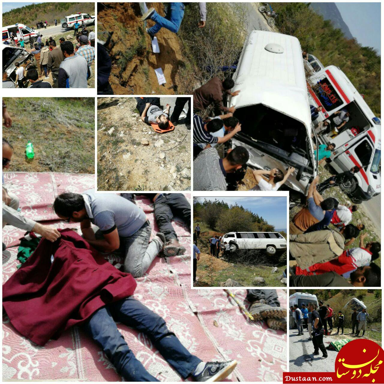 www.dustaan.com واژگونی مرگبار مینی بوس در محور گلوگاه – دامغان