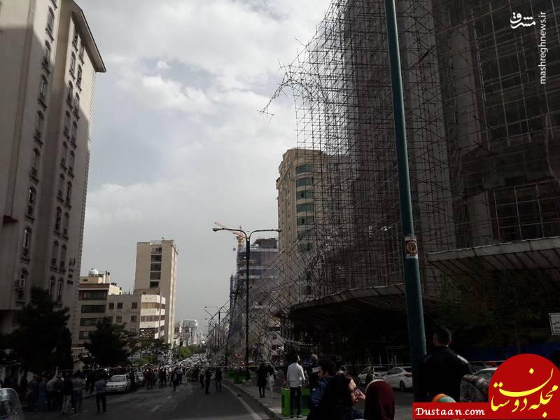 www.dustaan.com فرو ریختن داربست در خیابان سعادت آباد +عکس