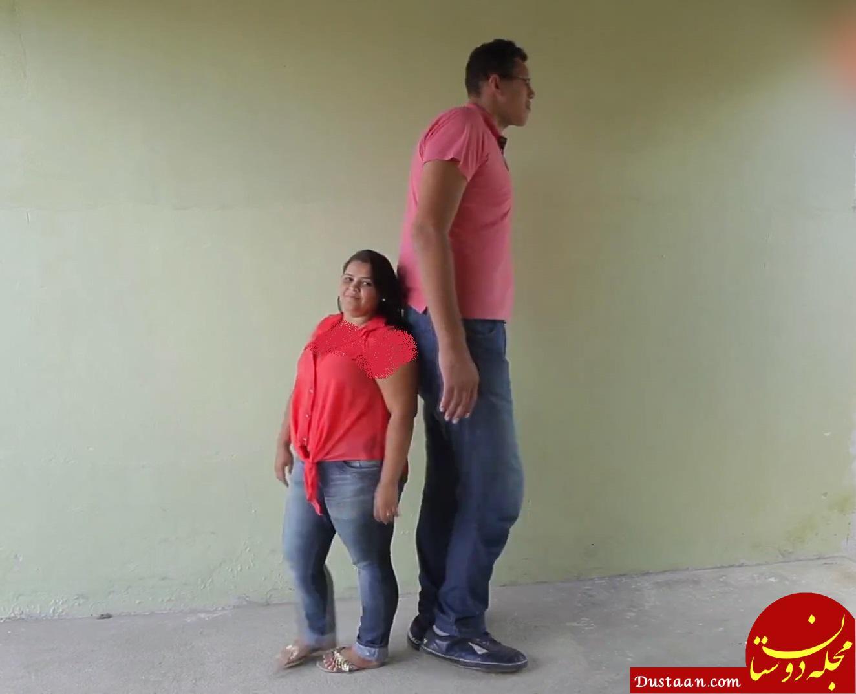 www.dustaan.com ازدواج عجیب دختر 145 سانتی با پسر 233 سانتی! +عکس