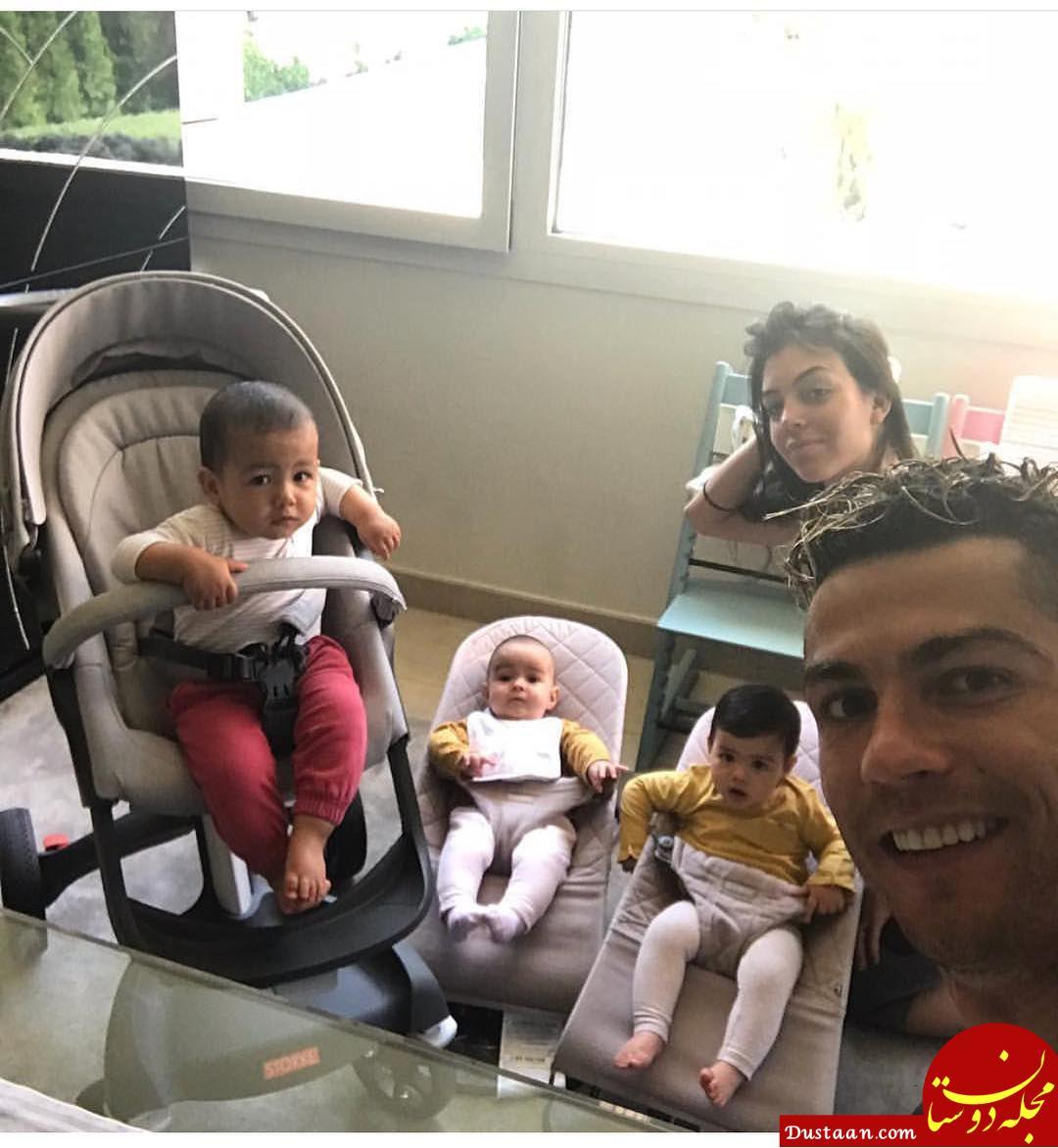 www.dustaan.com رونالدو و نامزدش جورجینا رودریگرز به همراه ۳ فرزندشان! +عکس