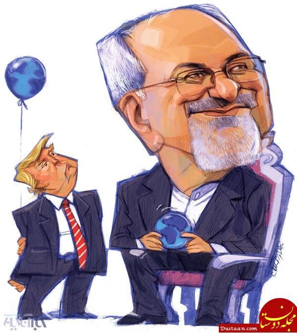 www.dustaan.com لبخند معنادار ظریف به ترامپ! +عکس