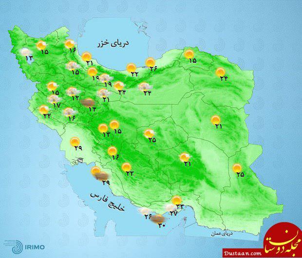 www.dustaan.com جمعه 4 خرداد 97/ دمای مراکز استان های کشور +نقشه