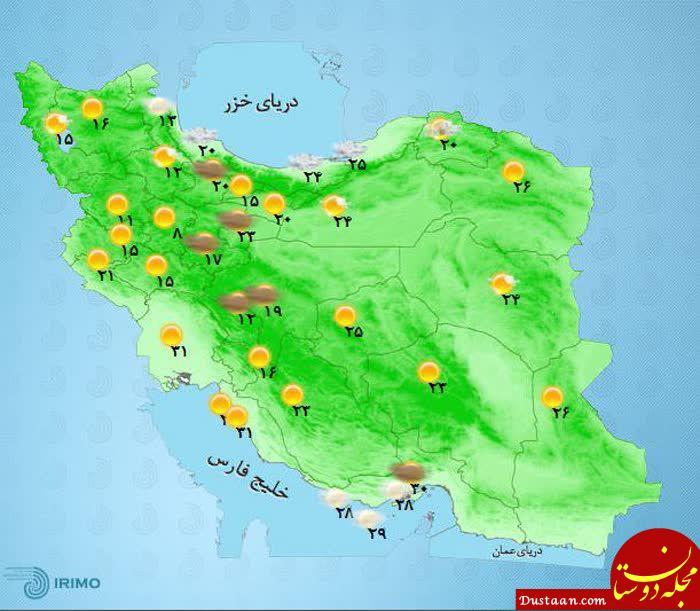 www.dustaan.com یکشنبه 6 خرداد/ دمای مراکز استان های کشور +نقشه