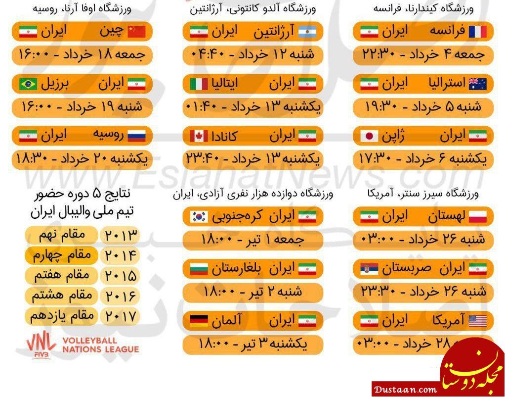www.dustaan.com برنامه کامل بازی های ایران در نخستین دوره لیگ ملت های والیبال