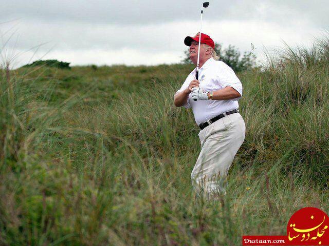 www.dustaan.com ترامپ برای بازی گلف در انگلیس سفرش را طولانی تر می کند!