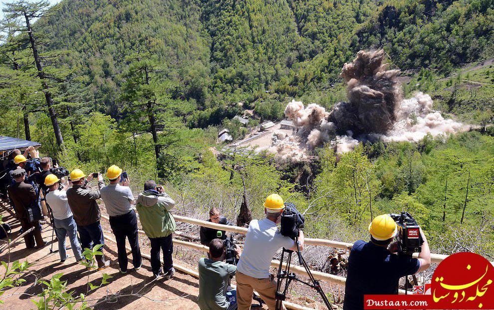 www.dustaan.com لحظه انفجار تاسیسات آزمایش هسته ای زیرزمینی کره شمالی +عکس