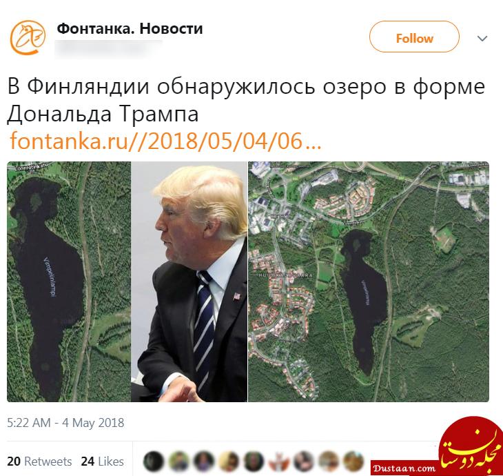 شباهت عجیب یک دریاچه به رئیس جمهور آمریکا! +عکس
