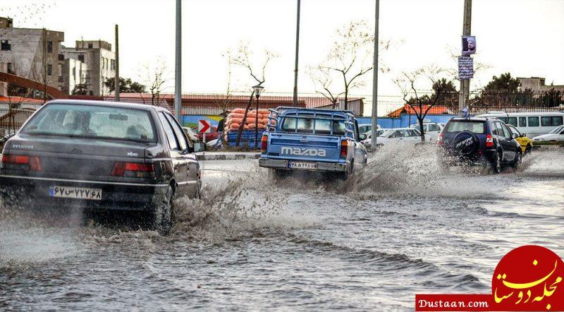 www.dustaan.com بارش شدید سبب آبگرفتگی معابر کرج شد