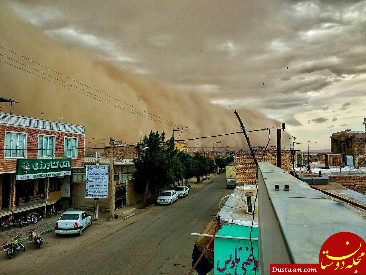 www.dustaan.com لحظه عجیب ورود طوفان به آران و بیدگل +عکس