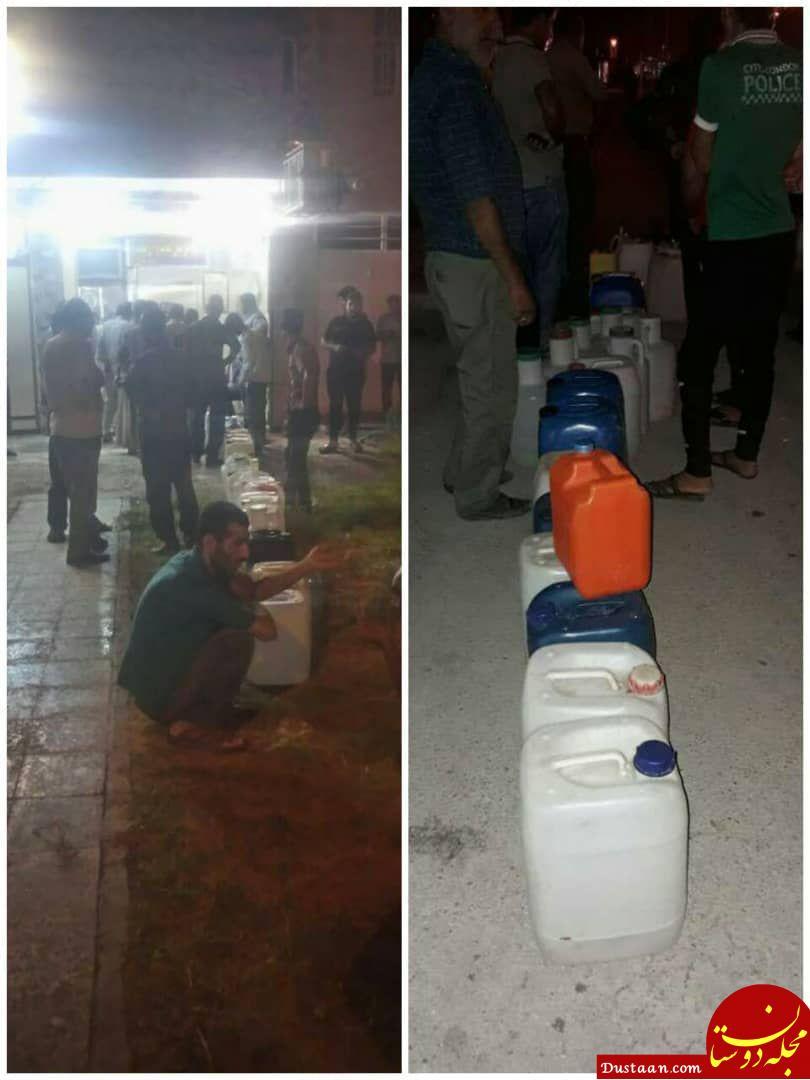 www.dustaan.com صف شبانه مردم آبادان و خرمشهر برای خرید آب شرب +عکس