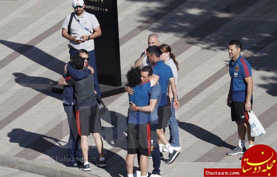 www.dustaan.com خداحافظی سرمربی سابق تیم ملی اسپانیا با بازیکنان +عکس