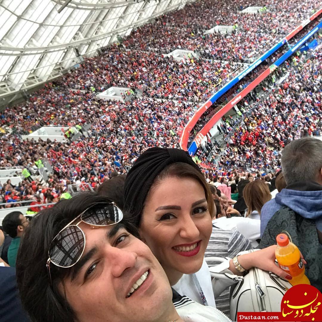 www.dustaan.com سلفی دیدنی سامان احتشامی و همسرش در افتتاحیه جام جهانى روسیه