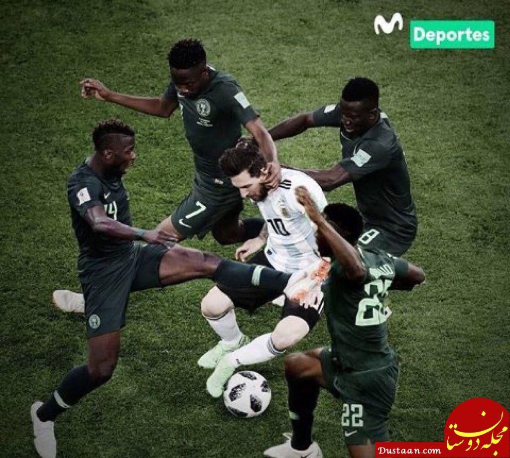 تصویری عجیب و جالب از نحوه مهار مسی توسط بازیکنان نیجریه