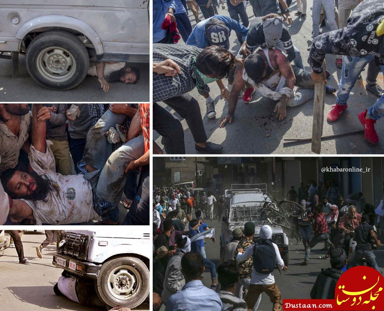 www.dustaan.com تصاویر تکان دهنده از زیرگرفتن تظاهرکنندگان توسط پلیس هند
