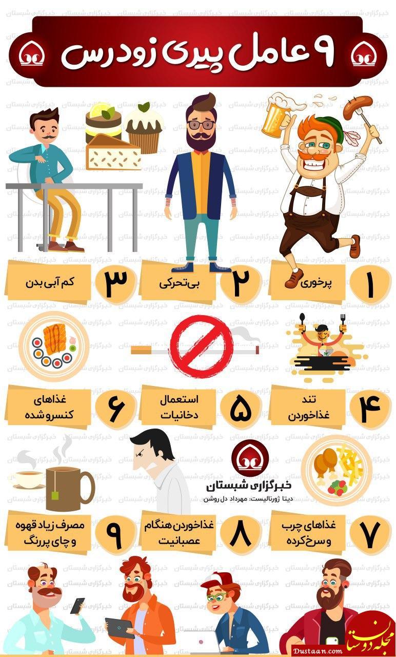 www.dustaan.com ۹ عامل پیری زودرس +اینفوگرافیک
