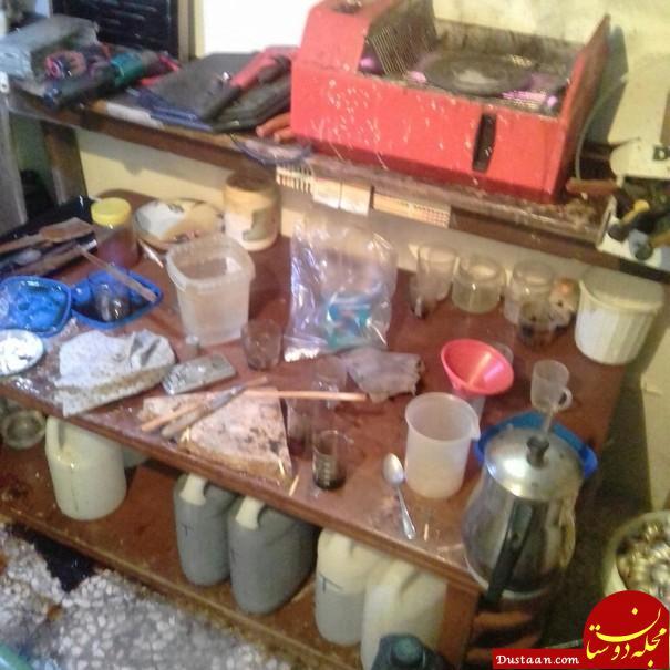 www.dustaan.com تصاویری از کارگاه تولید مواد مخدر شیشه! +تصاویر