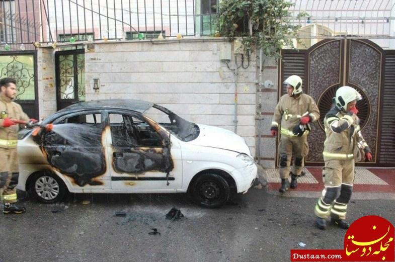 www.dustaan.com آتش گرفتن مبهم خودرو تیبا در خیابان +عکس