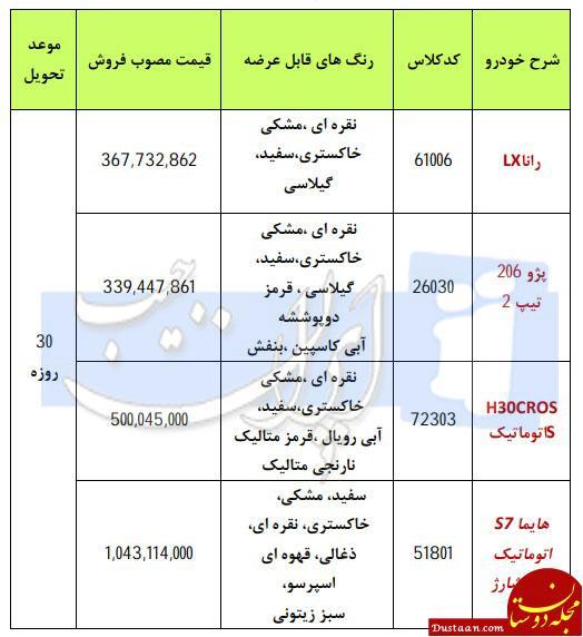 www.dustaan.com فروش فوری 4 محصول ایران خودرو به مناسبت عید فطر