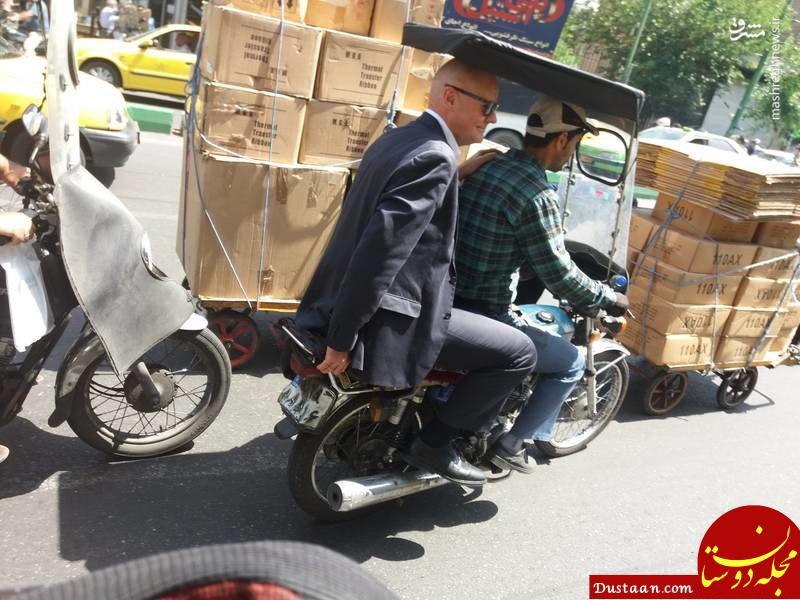 www.dustaan.com موتورسواری سفیر آلمان در بازار تهران! +تصاویر