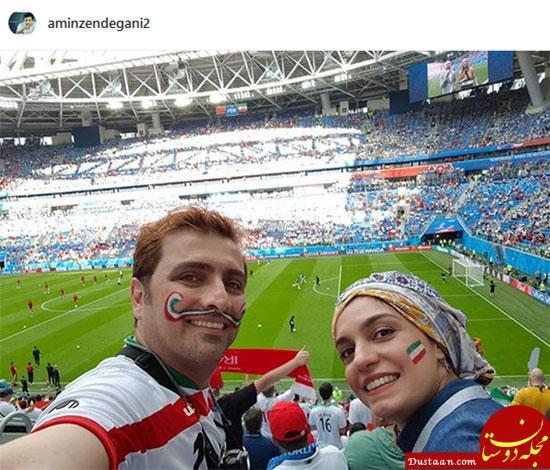 www.dustaan.com امین زندگانی و همسرش در گران ترین ورزشگاه جام جهانی +عکس