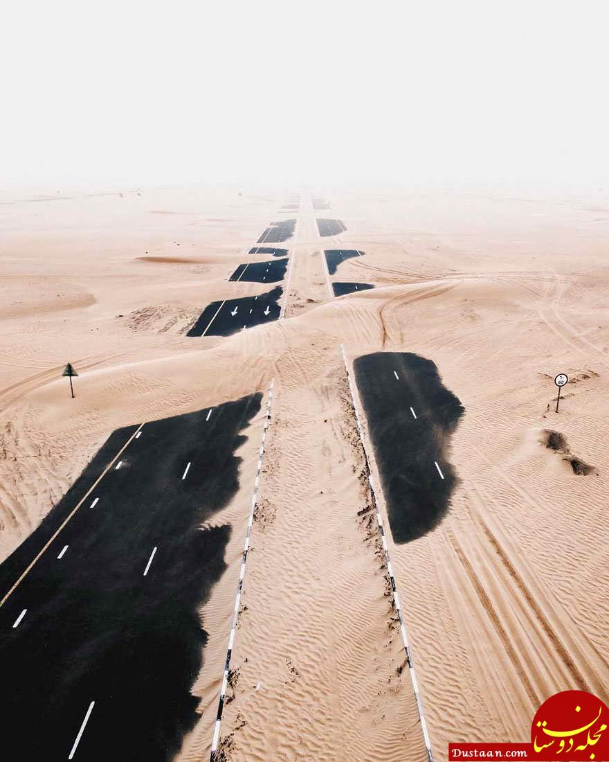 www.dustaan.com مناظر آخرالزمانی از بلعیده شدن جادهها در دبی