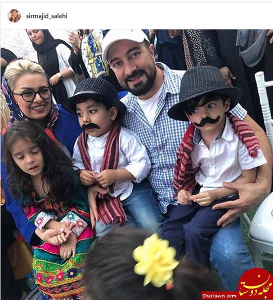 www.dustaan.com عکس دیدنی از مجید صالحی در کنار همسر و دو قلوهایش