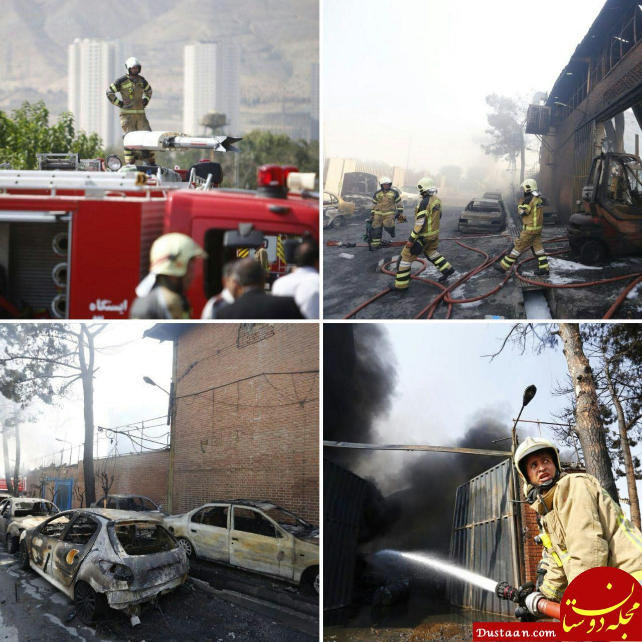 www.dustaan.com تصاویر: حادثه آتش سوزی کارخانه 2 هزار متری تولید رنگ و مواد شیمیایی
