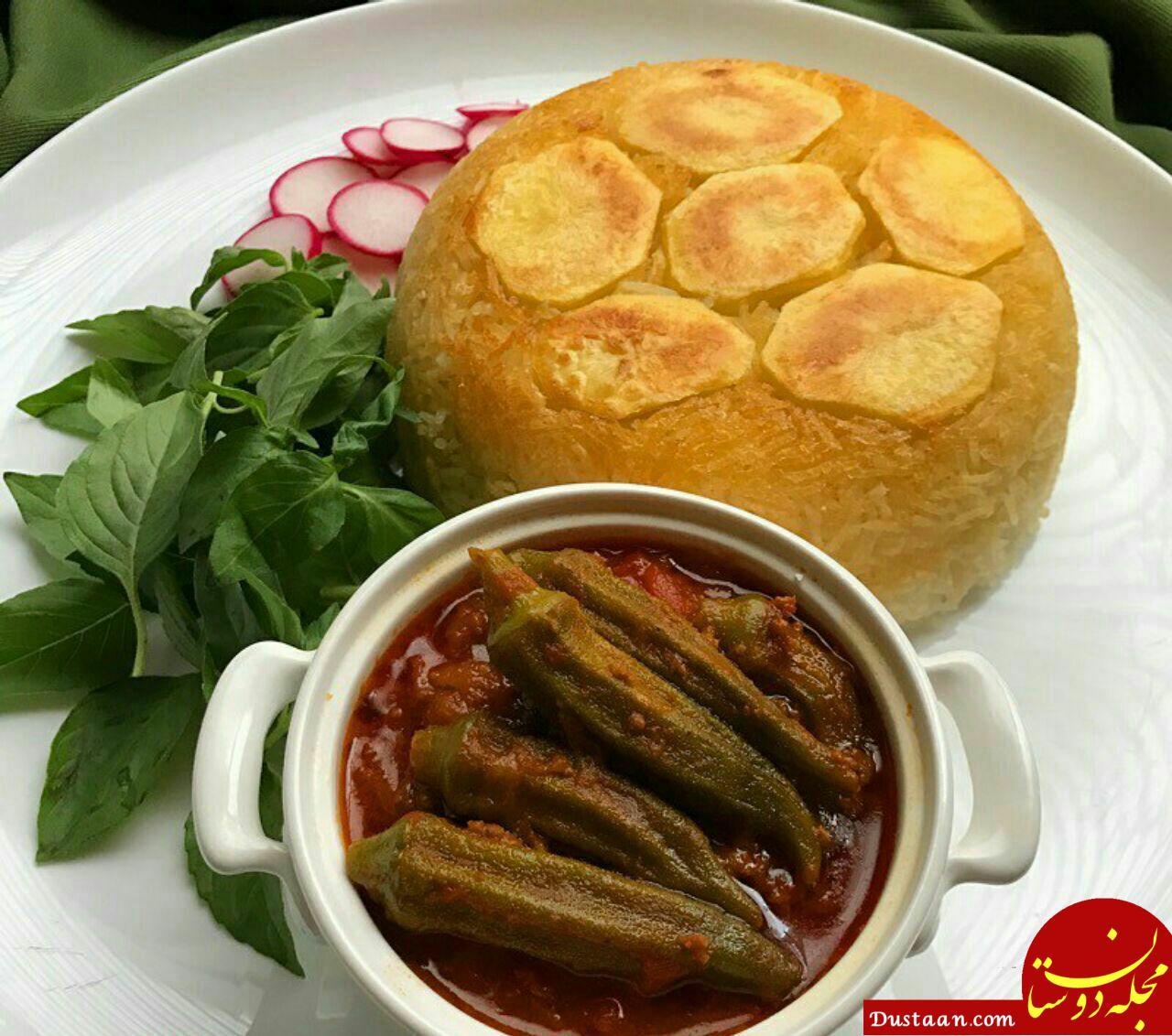 www.dustaan.com طرز تهیه خورشت بامیه با گوشت چرخ کرده به سبکی خوشمزه