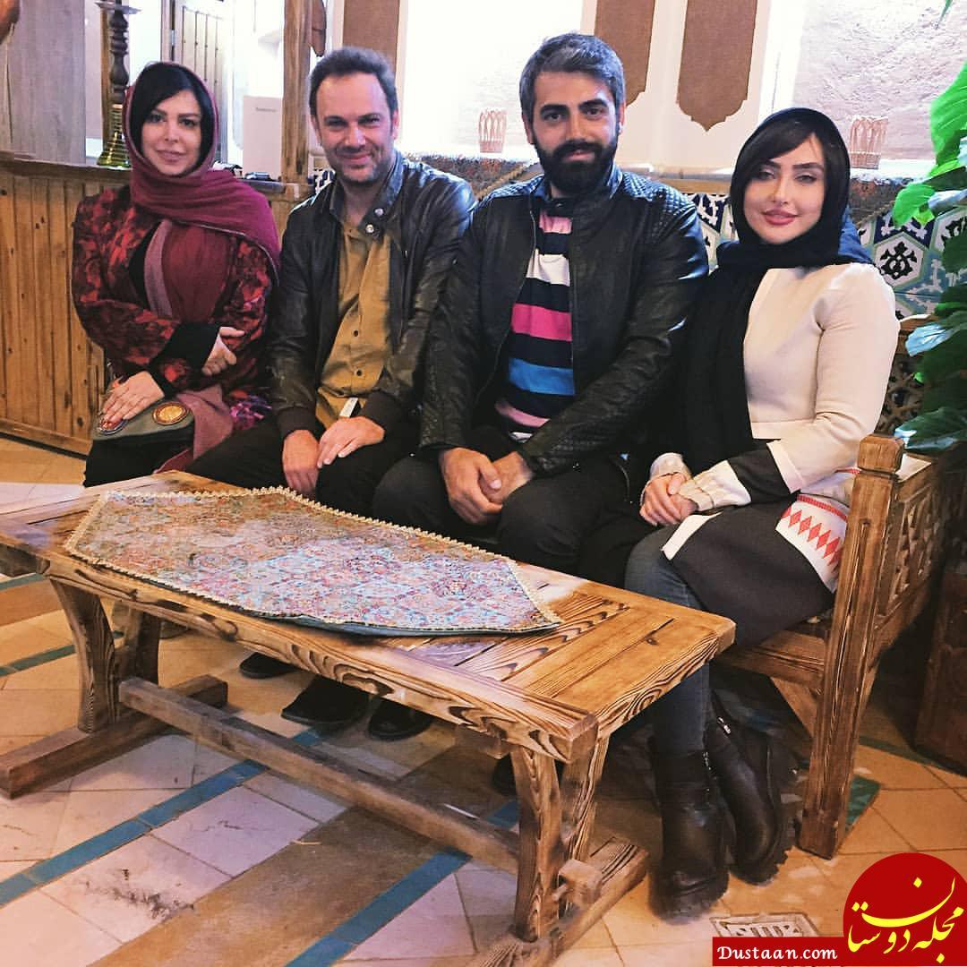 www.dustaan.com محمدرضا رهبری و همسرش ندا دیبا در پشت صجنه سریال راه و بیراه +عکس