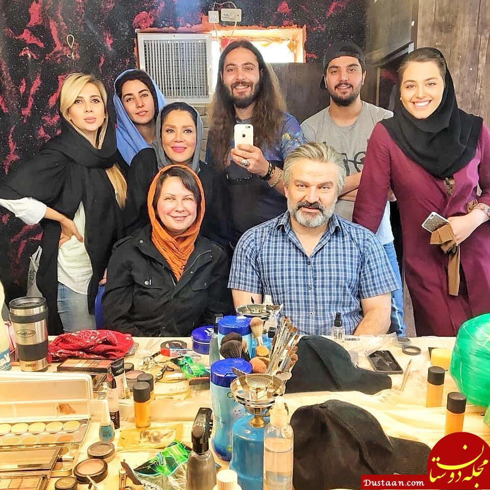 www.dustaan.com سلفی دیدنی مهدی سلطانی و لعیا زنگنه در پشت صحنه سریال پدر