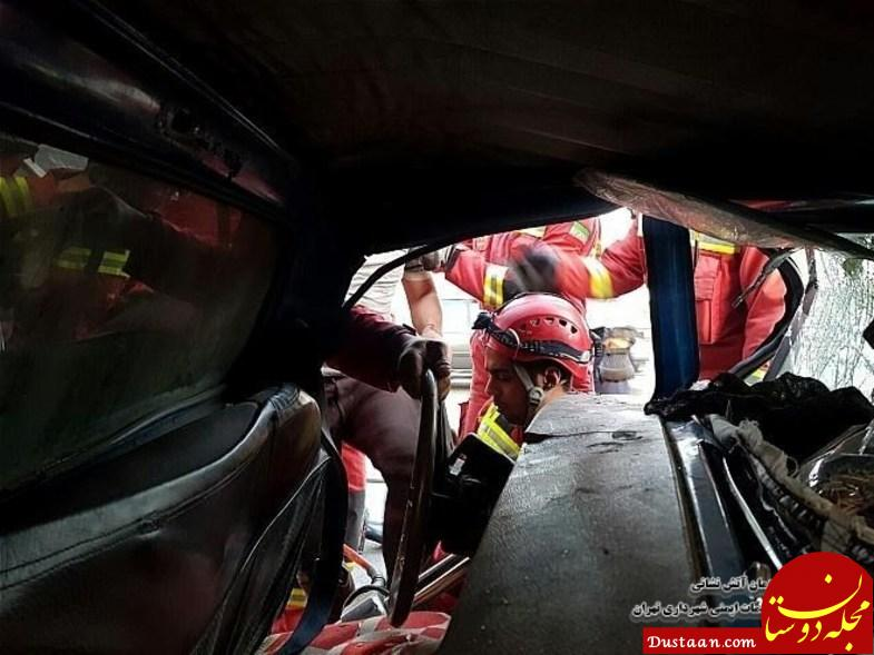 www.dustaan.com حبس راننده داخل نیسان پر از میوه +عکس