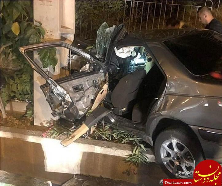 www.dustaan.com درهم پیچیدن پرشیا براثر برخورد با تیر چراغ برق +تصاویر