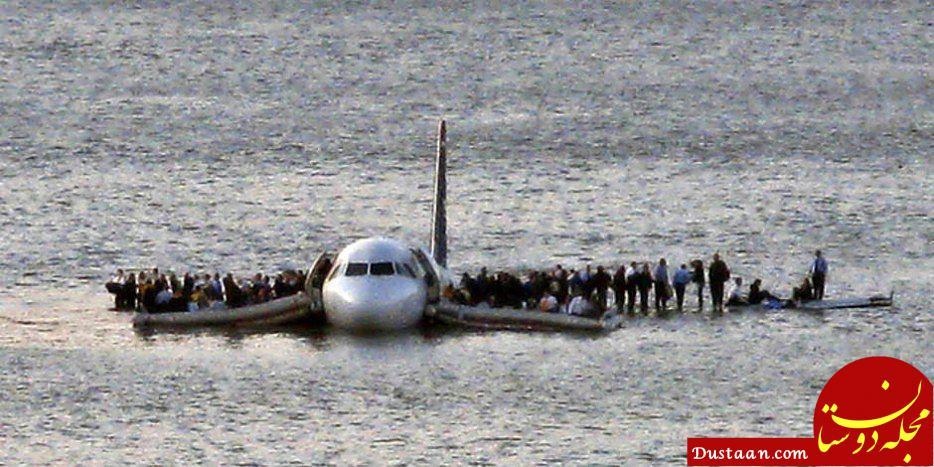 www.dustaan.com عکس دیدنی از فرود معجزه آسای هواپیما در آب