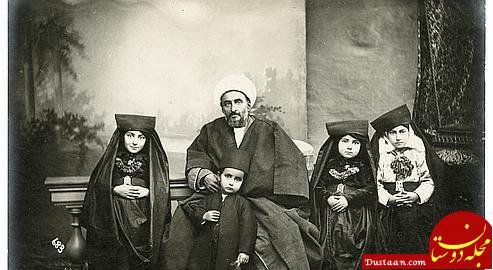 www.dustaan.com عکس آتلیه ای یک روحانی و خانواده اش در سال ۱۳۰۱