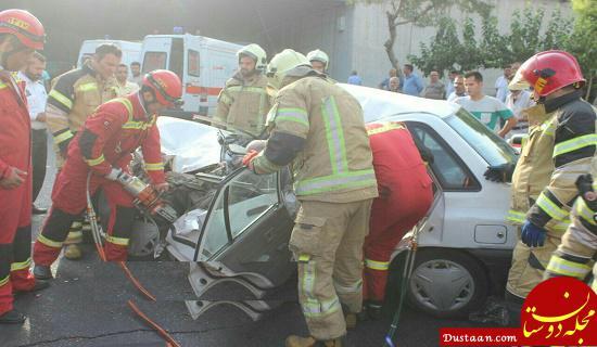 www.dustaan.com عکس جسد یک مرد تهرانی در پراید مچاله! +تصاویر