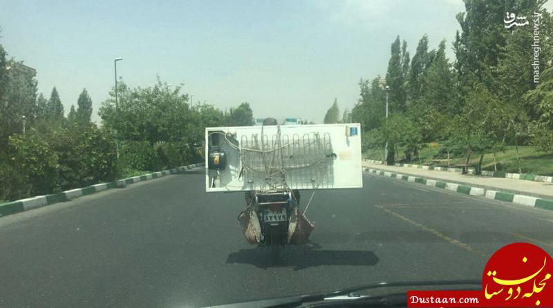 www.dustaan.com حمل یخچال با موتور! +عکس