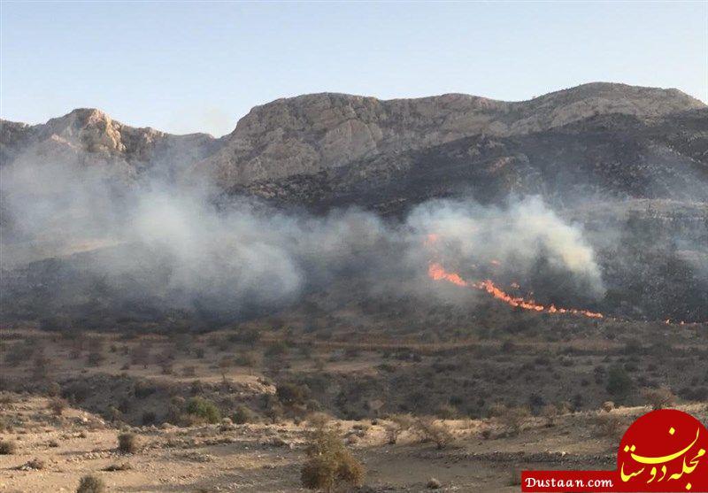www.dustaan.com آتش سوزی در ارتفاعات برناج بیستون همچنان ادامه دارد +عکس