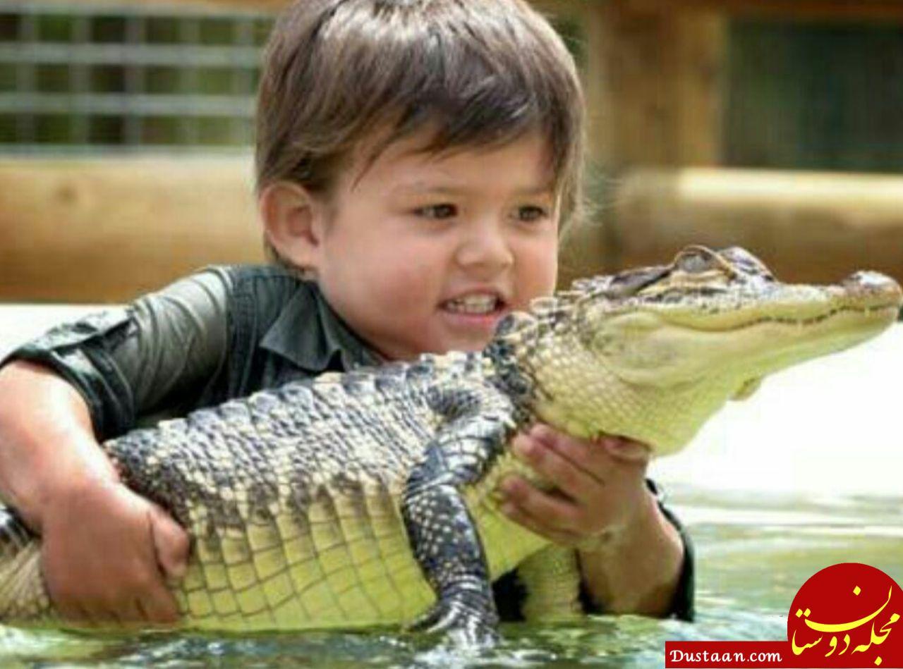 www.dustaan.com قدرت عجیب پسر بچه 3 ساله در ارتباط با حیوانات وحشی! +عکس