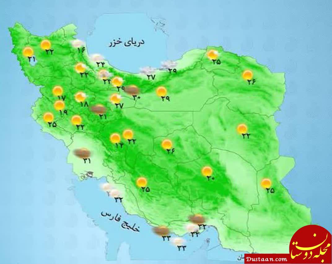 www.dustaan.com دمای مراکز استان های کشور /جکعه 19 مرداد