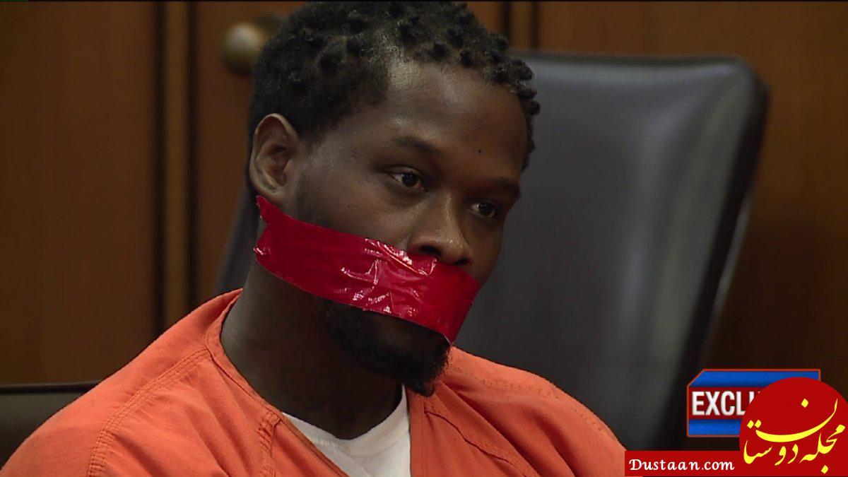 بستن دهان متهم با چسب نواری در دادگاه آمریکا! +تصاویر