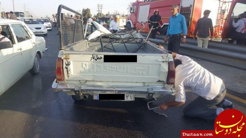 www.dustaan.com مرگ دلخراش 2 نوجوان بعد از پرت شدن از قسمت بار وانت +تصاویر