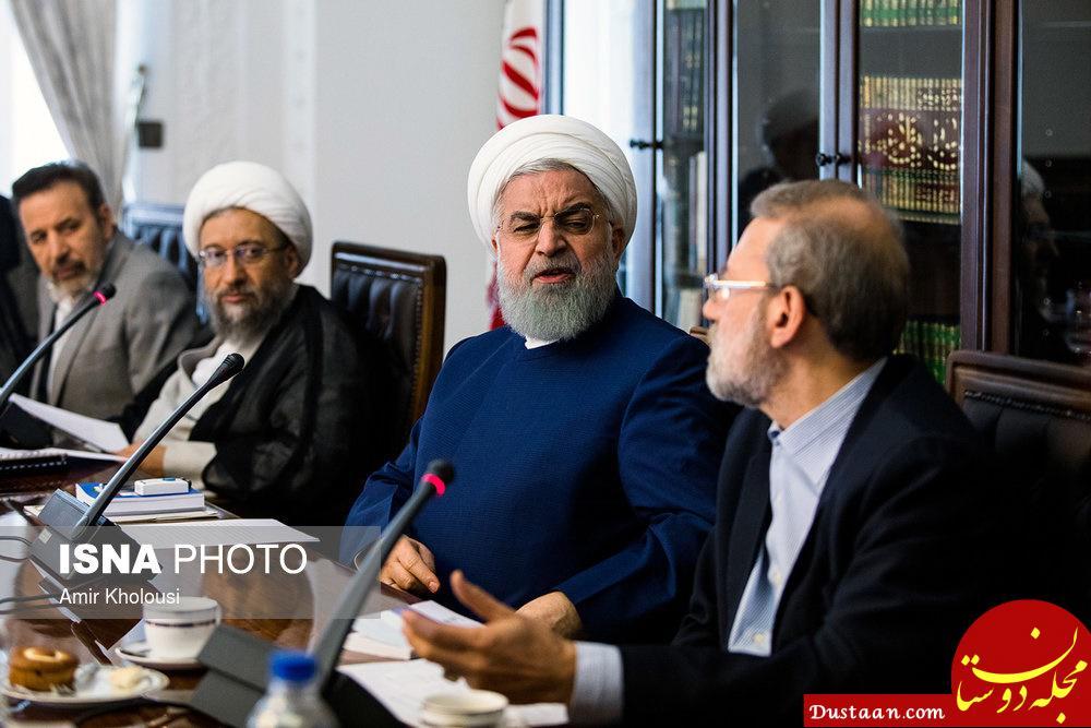 www.dustaan.com اخم روحانی به لاریجانی در جلسه شورای عالی اقتصاد +عکس