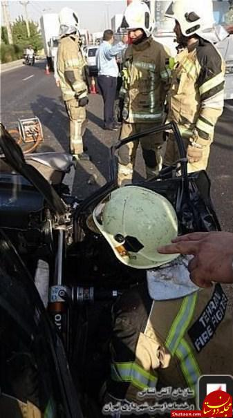 www.dustaan.com گرفتار شدن زن و مرد معلول در اتاقک پراید +تصاویر