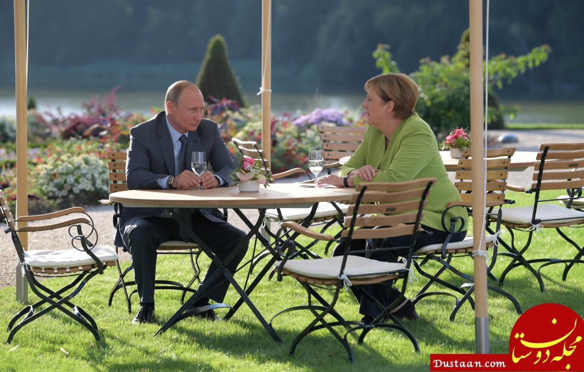 www.dustaan.com مذاکره مرکل و پوتین در یک باغچه! +عکس