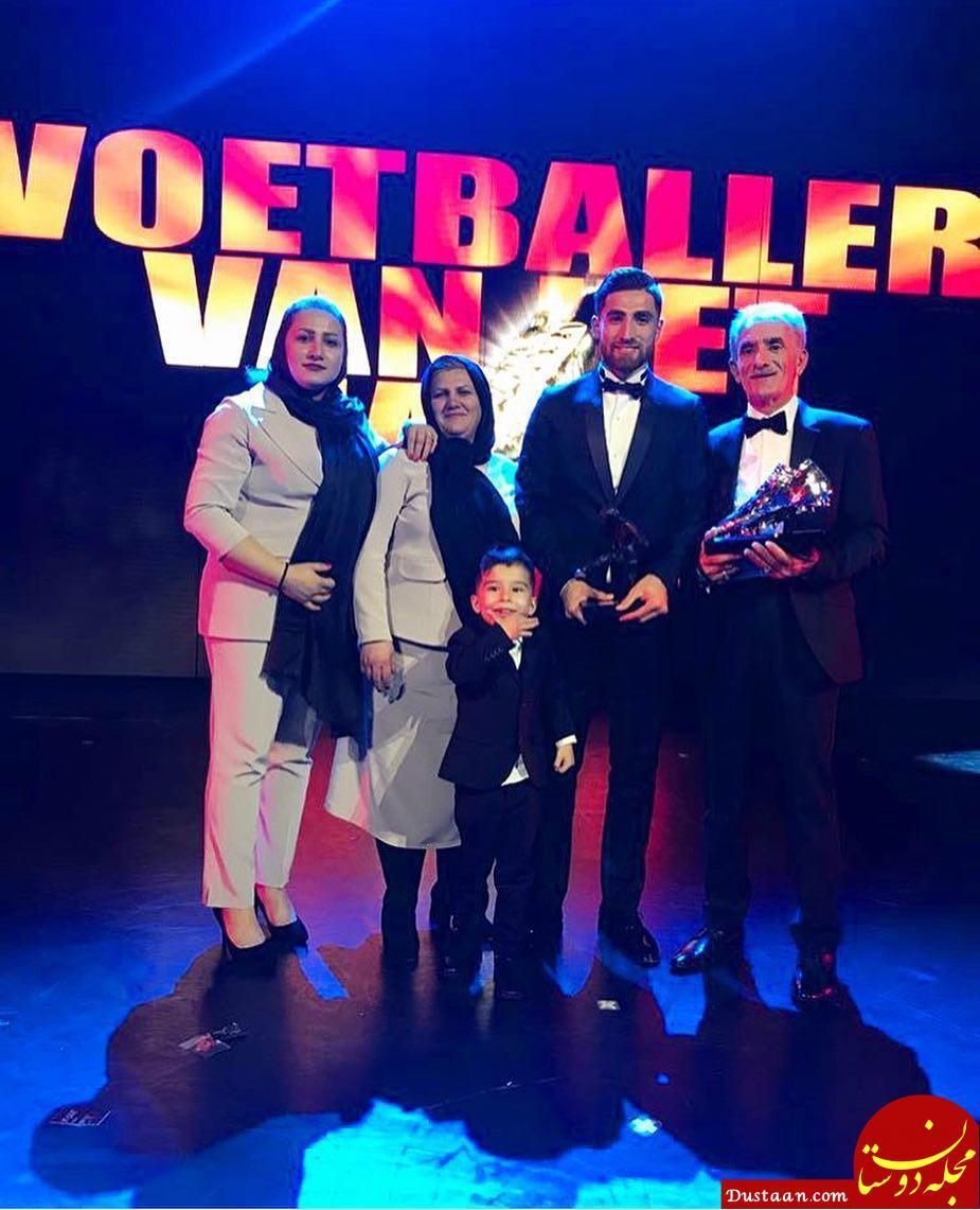 علیرضاجهانبخش در کنار پدر ، مادر و خواهرش در مراسم بهترین های لیگ هلند