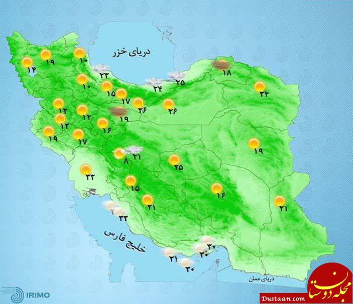 www.dustaan.com دمای هوای مراکز استان های کشور / دوشنبه 19 شهریور